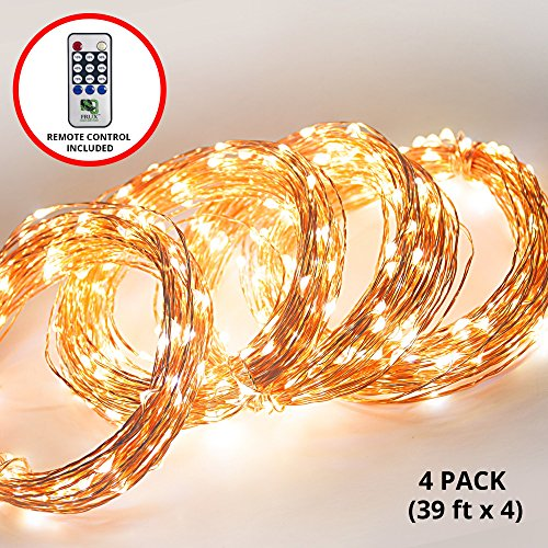 Fairy LED String Lights - 4 Sets 156ft Total Lighting Length, Copper Wire Amber Twinkle Starry Lights - Create Starry Glowing Light Effects, From Bedrooms to Outdoor Events - Buy 4 Pack Save 5%