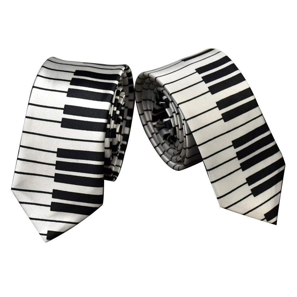 RIsxffp Las llaves del piano en blanco y negro de los hombres corbata delgada estrecha del regalo del lazo de la boda