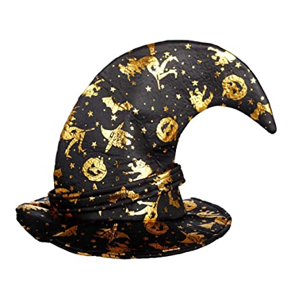 ff7115d047c Amosfun Wizard Hats Spider Web Pattern Witch Hat with Buckle Party Hat  Halloween Costumes Halloween Party