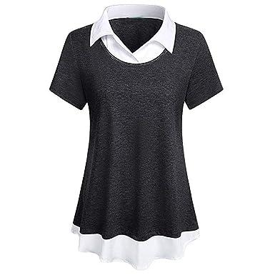 462c9b7e89b Lelli Women Fashion Shirt for Work Double Layered Short Sleeve Turn Down  Collar Swing Dress Shirt