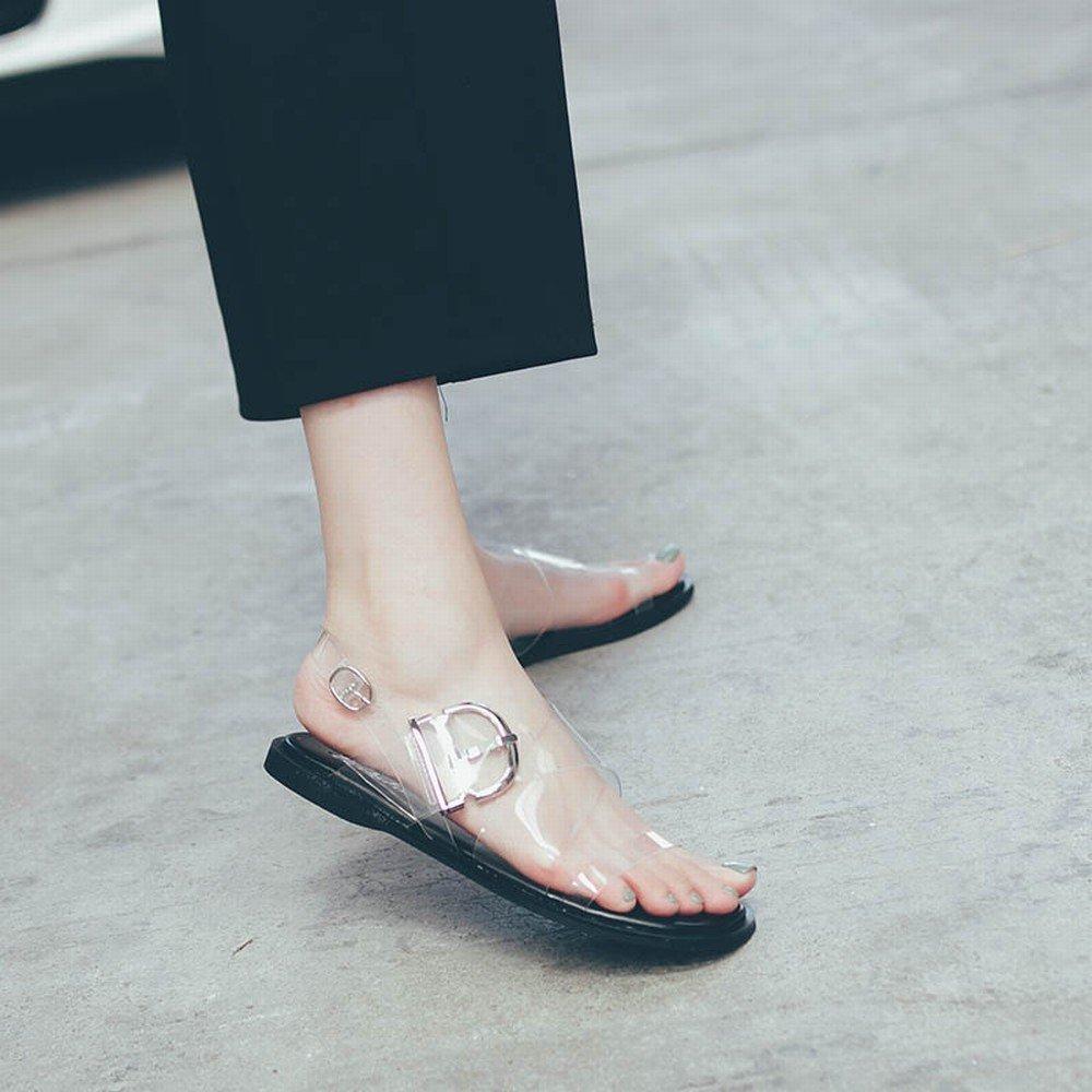 DIDIDD Flache Schuhe Sommer Rom Transparent Crystal Mesh Rot Metall Metall Rot Schnalle Schuhe,Weiß,39 - fce357