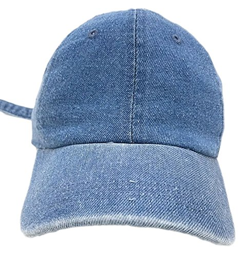 Classic Washed Cotton Baseball Dad Hat Cap Iron Buckle Strap (LT.Denim)