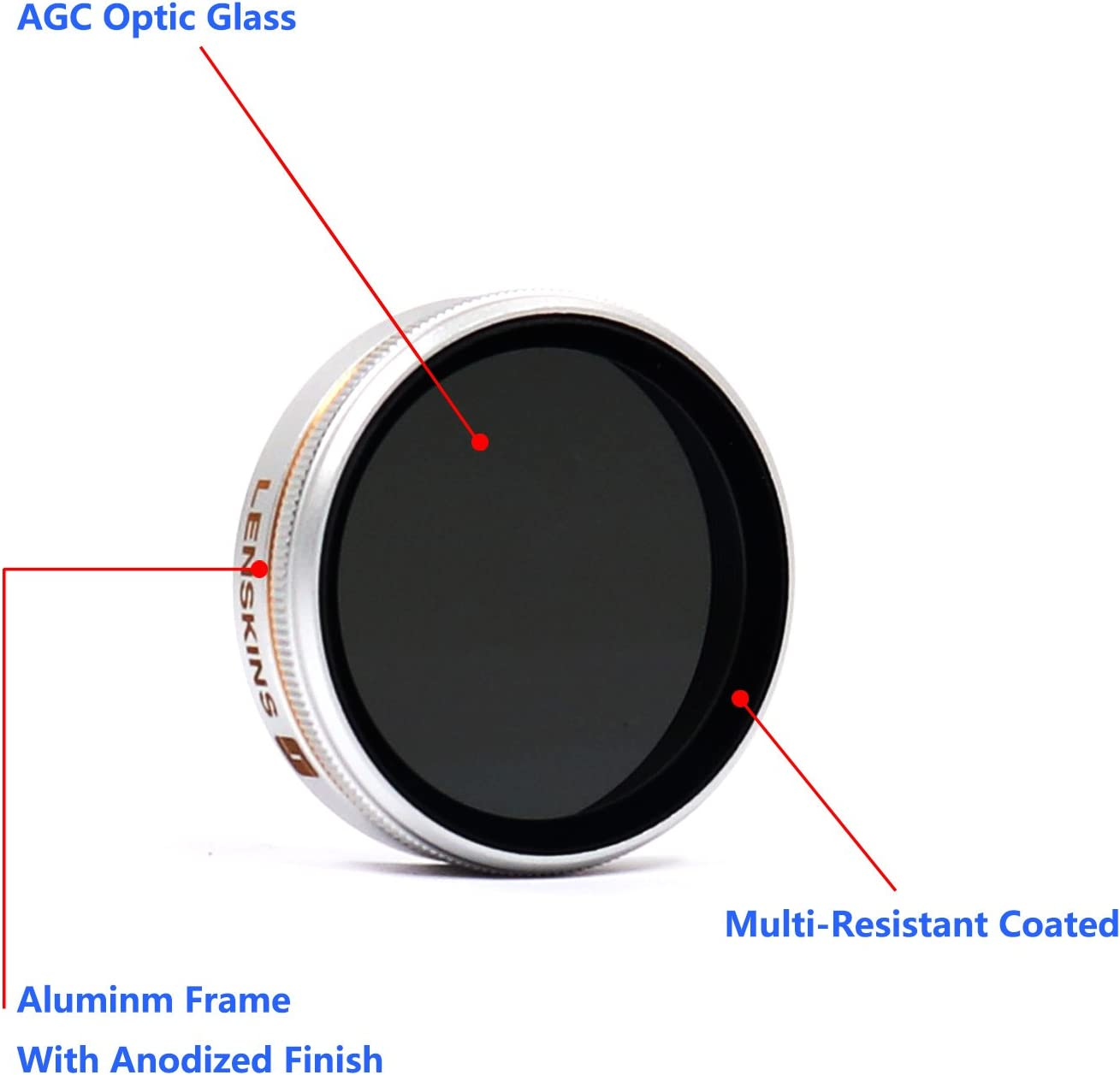 LENSKINS MRC ND4-CPL Filter Compatible DJI AGC Optics,Multi-Resistant Coated with Storage Case /& Lens Cloth Replacement for DJI Phantom 4//Phantom 3 Professional//Phantom 3 Advanced Filter