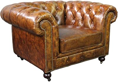Attrayant Crafters And Weavers Larson Top Grain Vintage Leather Chesterfield Arm Chair