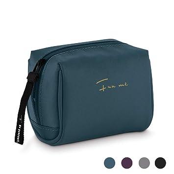 628665f3f258 ... Nylon Cosmetic Bag Portable Zipper Makeup Pouch Lipstick Powder Nail  Polish Organizer Travel Carrying Case Kit for Women, Men and Girls (Blue):  Beauty
