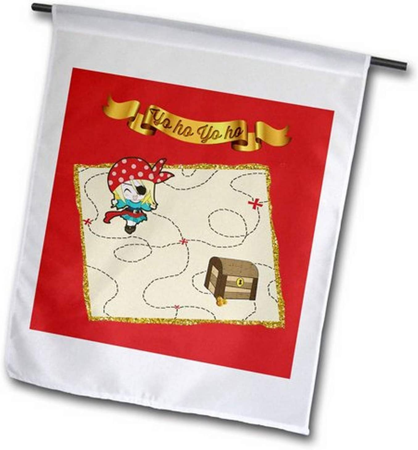"""3dRose fl_212216_1 Yo Ho Gold Banner, Girl Pirate with Sword and Treasure Chest on Map Garden Flag, 12 by 18"""""""