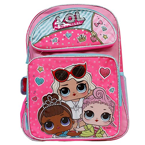(LOL Surprise! Hot Pink 16' Backpack- Royal Hi-Ney, Miss Baby & Leading Baby)