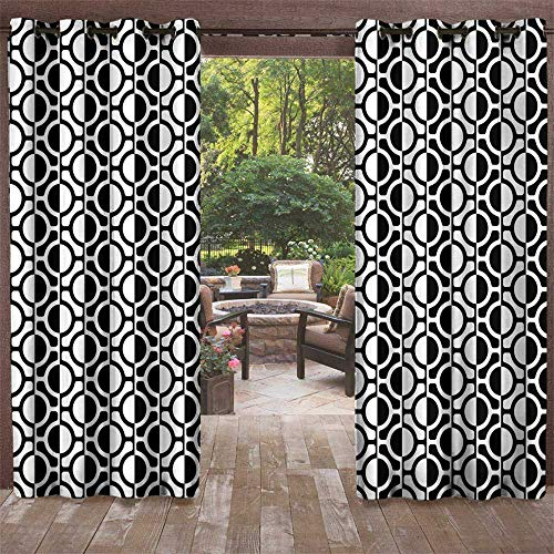 UNOSEKS LANZON Outdoor Grommet Curtain for Patio, Black and White Lattice Pattern with Geometric Circles and Lines Abstract Monochrome Grid Window Curtains Set 2 Panels (Black White, 108 x 96 Inches)
