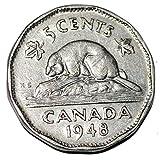 Canada 1948 5 Cents George VI Canadian Nickel