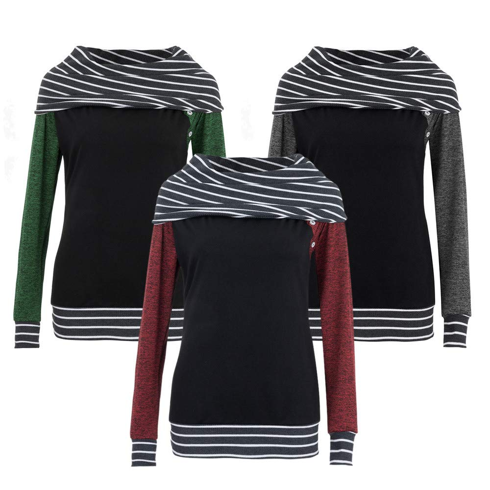 Sunmoot Clearance Women Striped Sweatshirt Skew Neck Long Sleeve Patchwork Button Top at Amazon Womens Clothing store:
