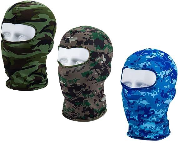 Apanphy® 3Pcs Máscara Pasamontañas Protector para Ciclismo Esqui Deporte,Balaclava Moto (Camuflaje Azul/Gris/Verde): Amazon.es: Deportes y aire libre