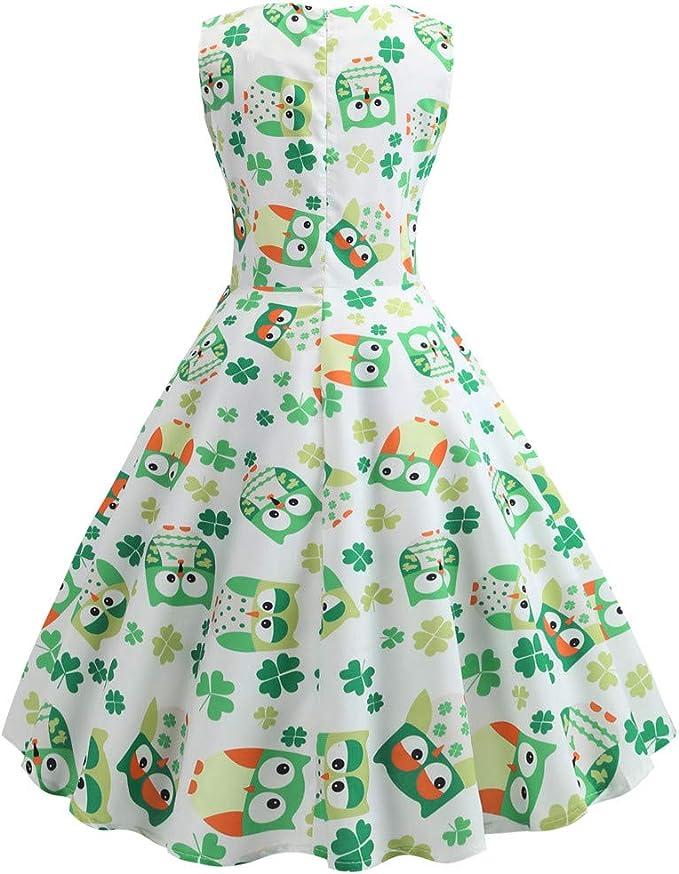 Voicry St. Patrick's Day Frauen Shamrock Abend Print Party Prom Swing Kleid: Odzież