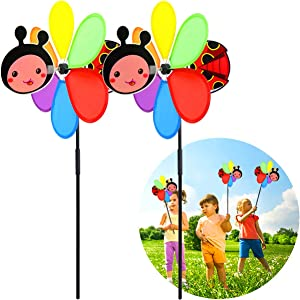 PSMILE Beetle Garden Wind Spinners Pinwheels Beetle Stakes Decorations Outdoor Lawn Decorative Yard Decor Patio Accessories Windmills Ornaments Gardening,2pack