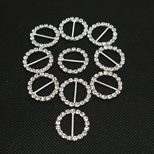 Holdding New 30pcs Round Silver Crystal Rhinestone Ribbon Buckles Sliders Mainly for Decoration of DIY Hairpins and Clothes Buttons (Small Rhinestone Buckles)