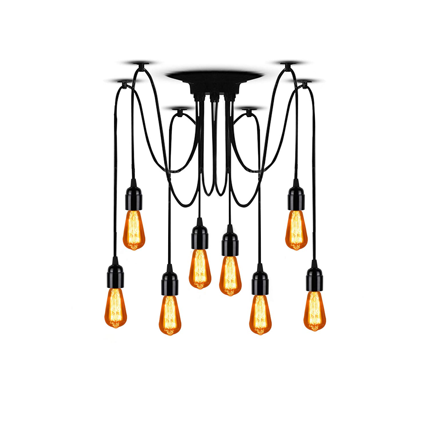 T&A 8 Arms Spider Lamps Vintage Edison Style Adjustable DIY Ceiling Spider Pendant Lighting Rustic Chandelier(Each with 78.74''/2M Wire)