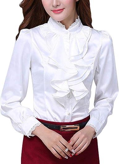 ORANDESIGNE Moda Mujer Gasa Color Sólido de Manga Larga Cuello Alto Sexy Encaje Tops Casuales Blusa Camiseta Casual OL Shirts: Amazon.es: Ropa y accesorios