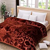 SRS Plastic Floral Double Bed Blanket (Brown, King Size)