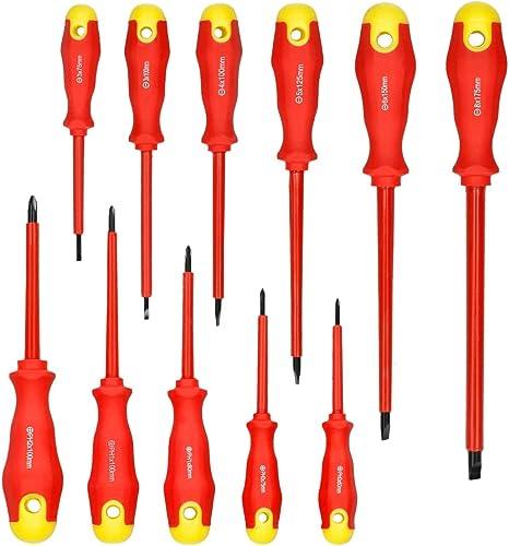 ECD Germany Juego de 11 desatornilladores aislados Ranurados y con punta de cruz Desarmadores para electricista