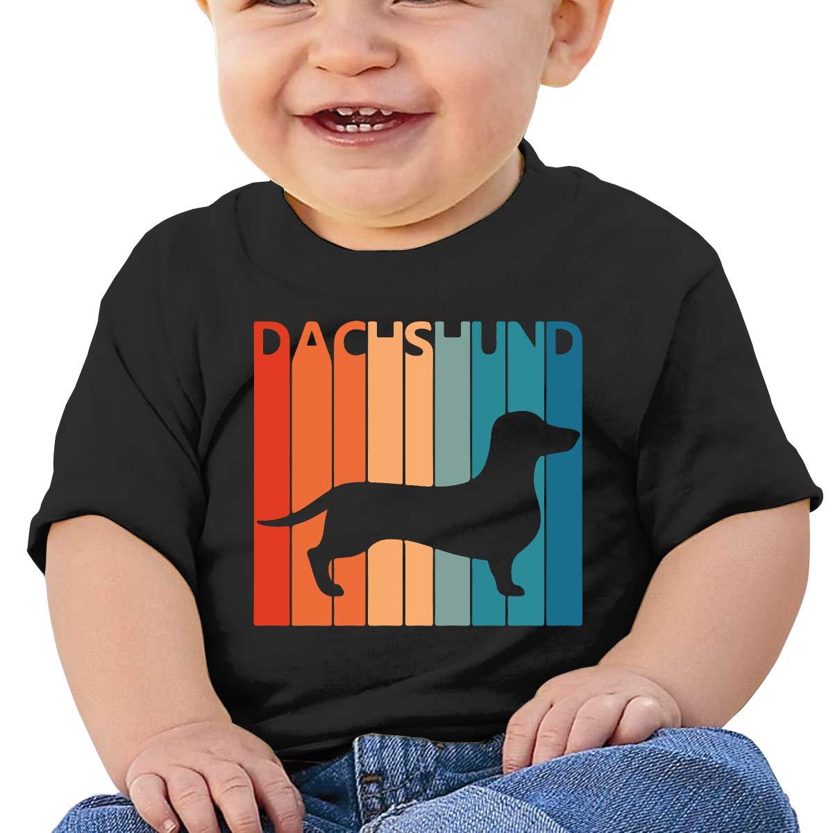 Cute Dachshund Baby Girl Newborn Short Sleeve T Shirts 6-24 Month Soft Tops