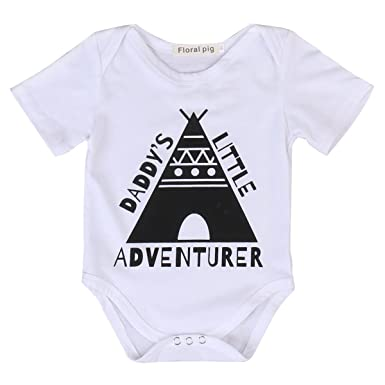 6d032769d Amazon.com  Newborn Baby Daddy s Little Adventure Funny Bodysuits ...