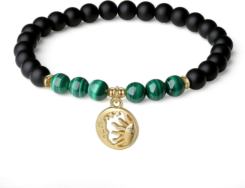 COAI Pulsera para Mujer en Piedras Naturales con Amuleto Sol y Luna