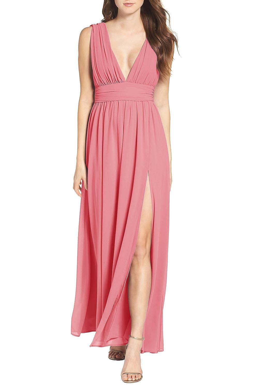 Watermelon PrettyTatum Deep V Neckline High Side Slit Long Prom Dress Bridesmaid Beach Maxi Ballgown