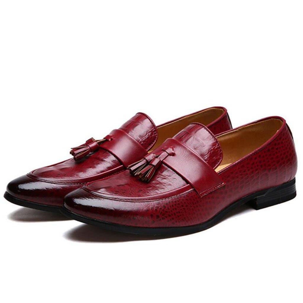GAOLIXIA Zapatos de cuero a los hombres de negocios Zapatos de vestir formales de la borla Zapatos casuales Zapatos profesionales de trabajo (Color : Rojo, tamaño : 44) 44|Rojo