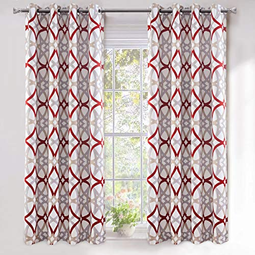 DriftAway Alexander Thermal Blackout Grommet Unlined Window Curtains Spiral Geo Trellis Pattern Set of 2 Panels Each Size 52 Inch by 63 Inch Red and Gray (Kitchen Red Gray And)
