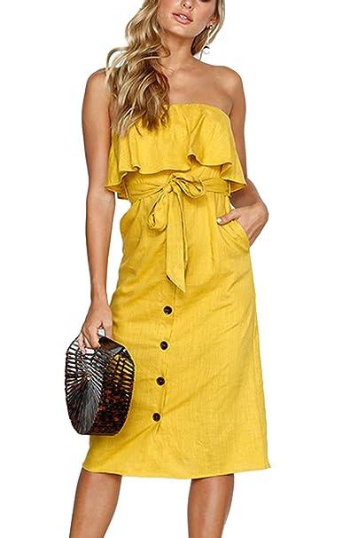 Túnica Vestido Mujer Verano Playa Vestidos Elegantes Volantes Belted MIDI: Amazon.es: Ropa y accesorios