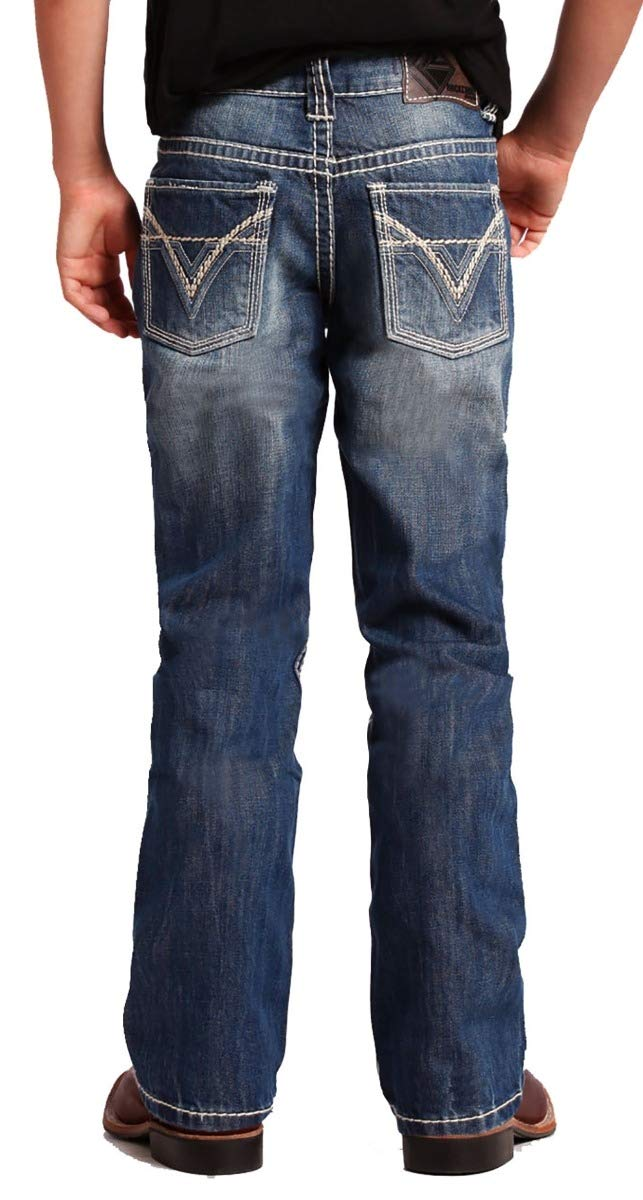 Rock & Roll Denim Boy's BB Gun Medium Wash Boot Cut Western Jeans Denim, Size 8