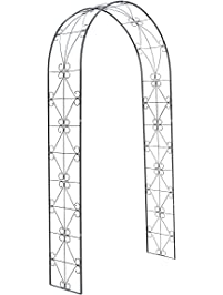 HollyHOME Decorative Metal Garden Arch, Sturdy Garden Arbor With Round Top,  Perfect For Climbing
