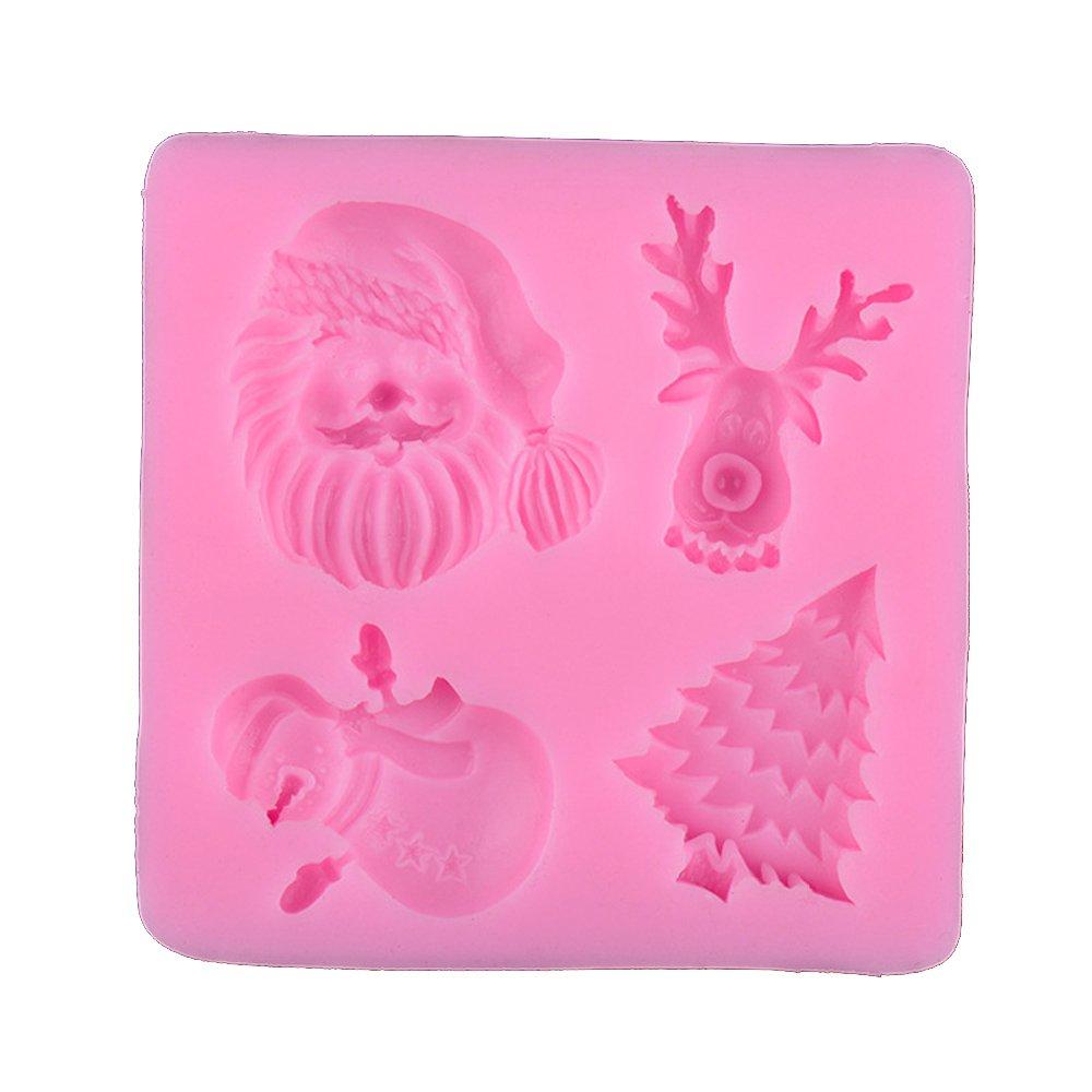 Navidad silicona Fondant molde herramientas Chocolate moldes para decoración de repostería: Amazon.es: Hogar