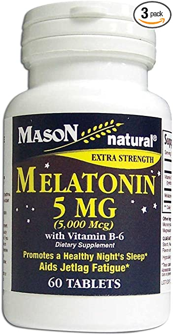 Amazon.com: Mason Vitaminas Melatonina 5 mg con Vitamina B-6 ...