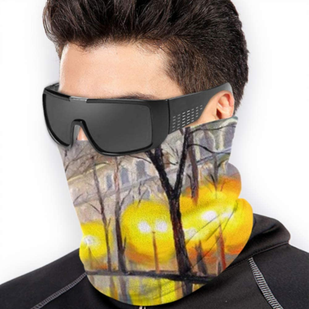 Fleece Neck Warmer ,multifunctional Oil Painting Autumn Street Scarf,a Full Face Mask Or Hat Neck Gaiter Neck Cap ,ski Mask Half Mask,face Mask,