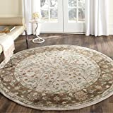 Safavieh Total Perform Collection TLP722B Hand-Hooked Ivory and Taupe Round Area Rug (6′ Diameter) For Sale