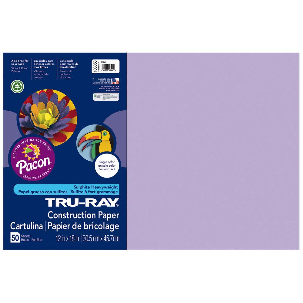 12-Inches by 18-Inches Tru-Ray 103050EA Pacon Construction Paper 103050 50-Count Lilac