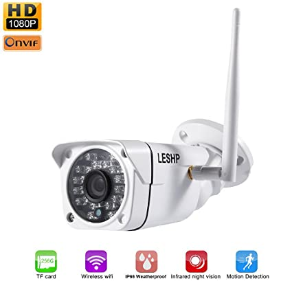 Cámara video vigilancia, LESHP IP Cámara WiFi Inalámbrica Impermeable IP66 P2P Full HD 1080P 2MP