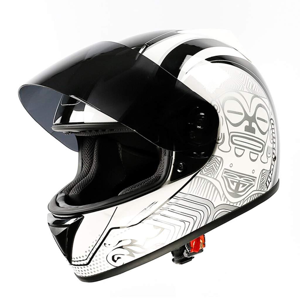 GWM 電動バイクヘルメット、男性のバッテリー車女性の冬の二重レンズのオープンフェイスヘルメット、四季ユニバーサルフルカバーの防雨日焼け止め防止霧、機関車のレトロなハーフヘルメット (サイズ さいず : M)  Medium