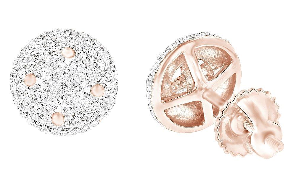 1,25 Karat Rundschliff Weißszlig; natürlicher Diamant Cluster Ohrstecker in 14 ct 585 Massiv Weißszlig; Gold 14 Karat RotGold