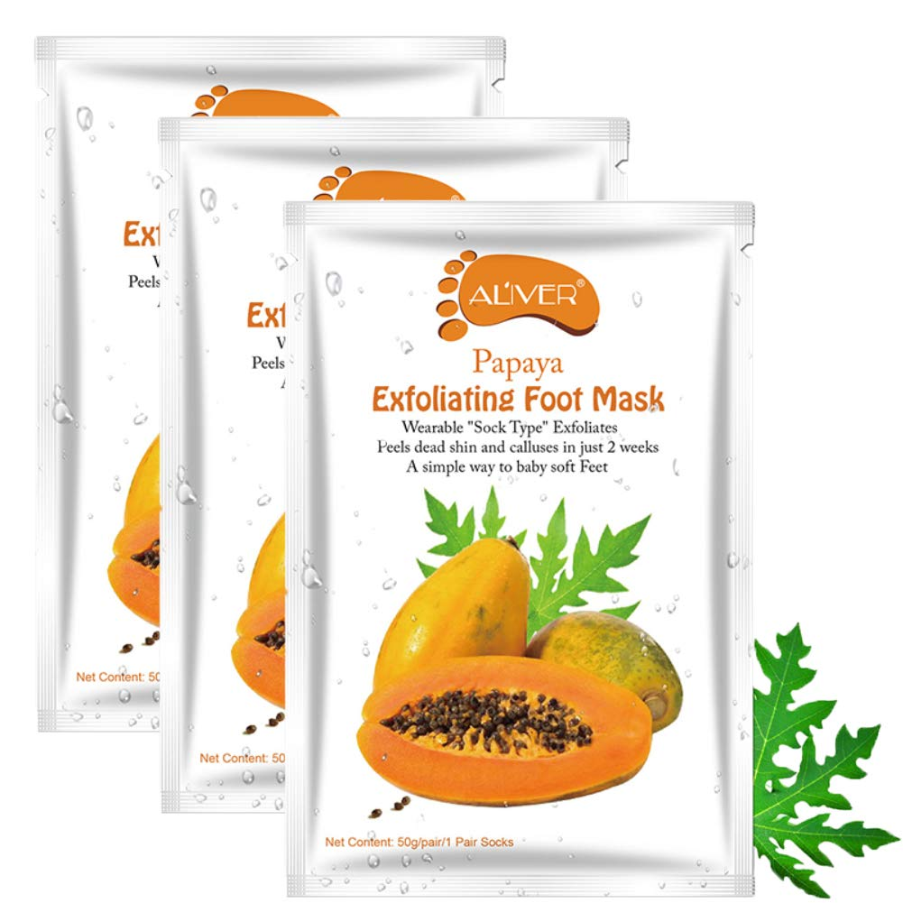 3 Pairs Foot Peel Mask, Exfoliating Foot Masks, Peeling Away Calluses and Dead Skin, Make Your Feet Baby Soft, Repair Rough Heels, Get Smooth Silky Skin, Fruit Extract Foot Peel Booties (Papaya)