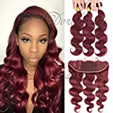 DoraBeauty Wine Red Human Hair Bundles with 13×4 Lace Frontal Body Wave 99J Burgundy Pre Plucked Frontal with Baby Hair 14″+14″16″18″ Review
