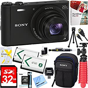 Sony Cyber-shot WX350 Compact Digital Camera with 20x Optical Zoom (Black) + 32GB SDXC Memory Dual Battery Kit + Accessory Bundle