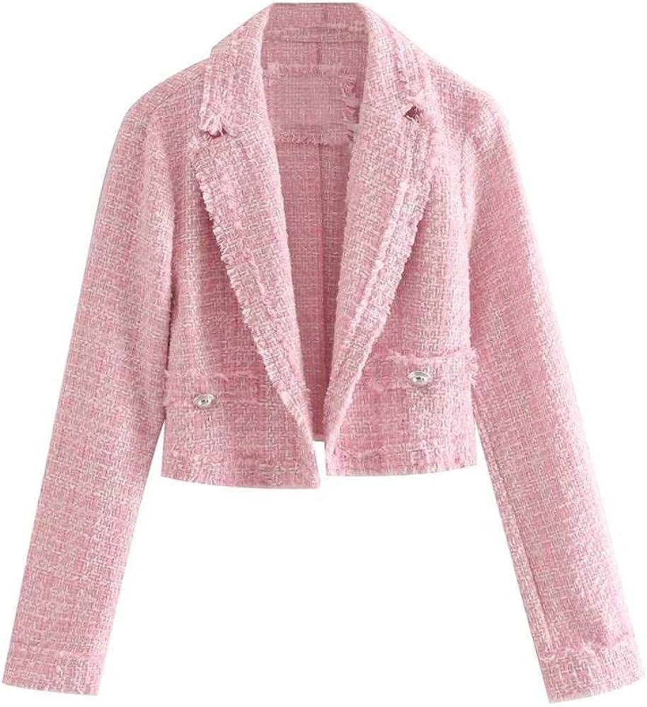 Inglaterra Estilo Vintage Rosa Tweed Blazer sólido Corto Feminino Blazer Mujer Blazer Mujer Mujer Blazers y Chaquetas