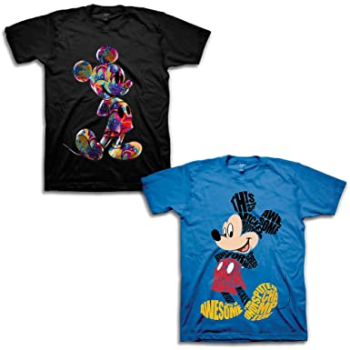 f7cd737c Amazon.com: Boys Disney Mickey Mouse Shirt - 2 Pack of Disney Mickey Mouse  Tees - Mickey Mouse & Friends: Clothing