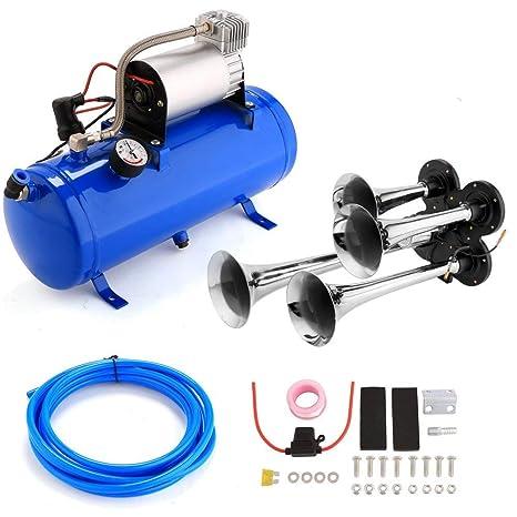neudas 4 Trumpet Air Horn 12V 150 dB Compressor Kit for Cars, Trucks on 12v dc air conditioner, 12v motor, 12v air pump, gas compressor, 12v air conditioners for vehicles, rubber hose for compressor, 12v air conditioning system, refrigerator compressor,