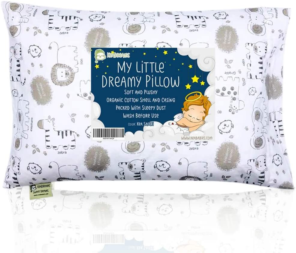 Toddler Pillow with Pillowcase 13X18 Soft Organic Cotton Baby Pillows for Sleeping Machine Washable Toddlers, Kids, Infant Perfect for Travel,