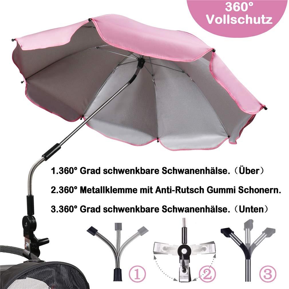 Sonnenschirm Kinderwagen Universal 75cm Durchmesser Schirm f/ür regnerisch TBoonor baby Sonnenschutz Regenschirm UV Schutz 50+ mit Universal Halterung f/ür Kinderwagen /& Buggy sonnig Rosa