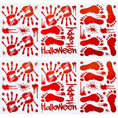Tatuo 82 Pieces Bloody Handprints Footprints Window Floor Wall Clings Decals Stickers Supplies for Halloween Vampire Zombie Party