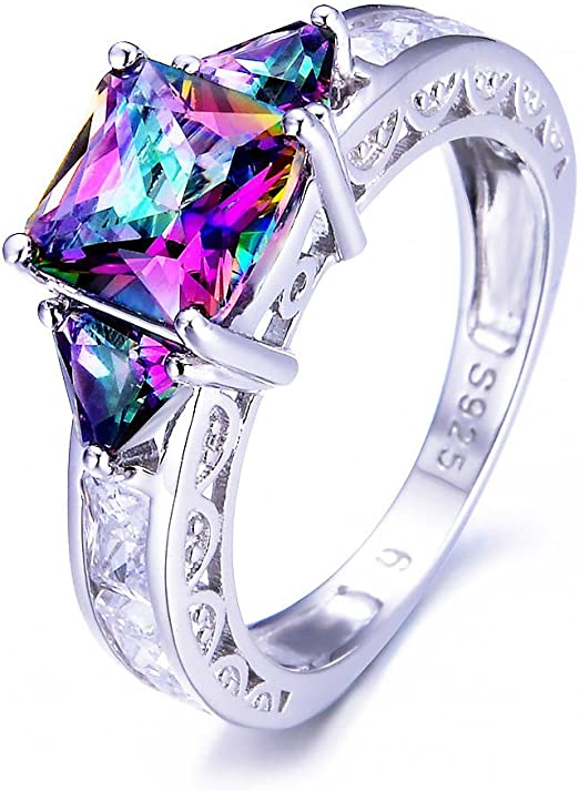 Vintage Sterling Silver Mystic Topaz /& White Topaz Solitaire Ring Size 8