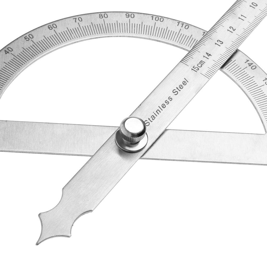bhty235 Lineal Messwerkzeug Winkelmesser mit 0-180 /° Rundkopf-Winkelmesser verstellbares Universal-Edelstahlmesswerkzeug